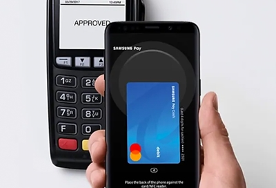 Galaxy phone showing Samsung Pay as payment service