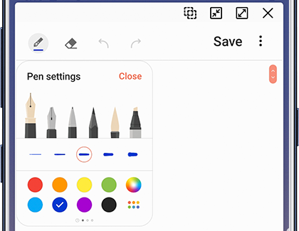 Samsung Notes Pen settings