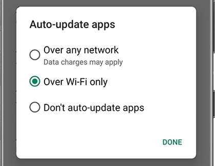 List of Auto-update apps choices in the Play Store