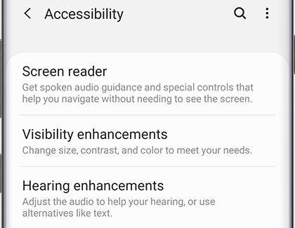 Accessibility settings displayed on phone