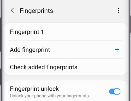 Fingerprint settings screen on phone