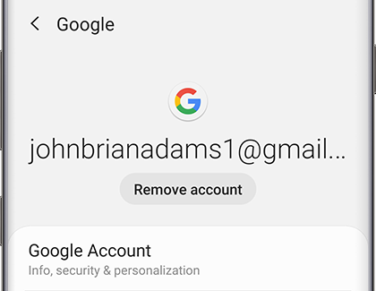 Google account settings on phone
