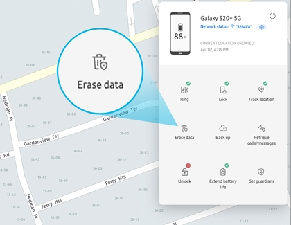 The Erase data icon highlighted on the Find My Mobile website