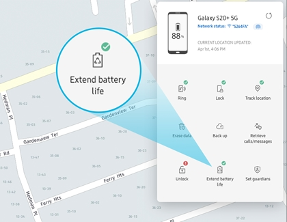 The Extended battery life icon highlighted on the Find My Mobile website