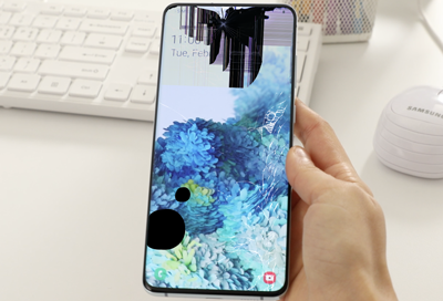 Cracked or bleeding screen on Galaxy phone or tablet