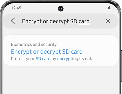 Searching for Encrypt or decrypt SD card on a Galaxy phone