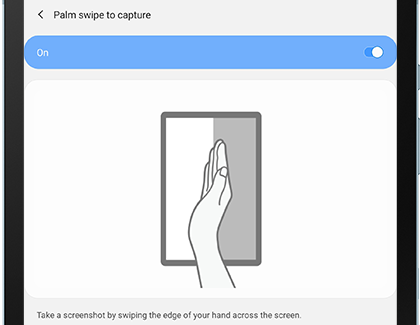 Palm swipe settings menu
