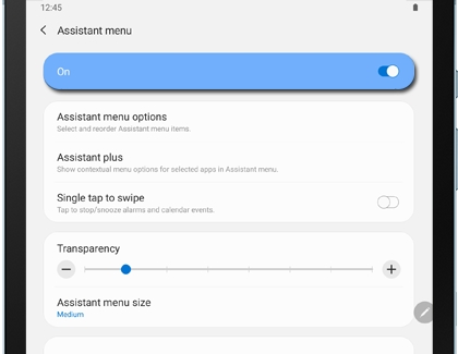Assistant menu settings on a Galaxy tablet