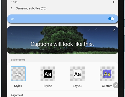 Samsung subtitles settings menu on a Galaxy tablet