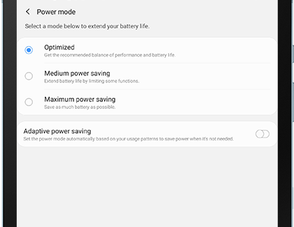 Different power modes displayed on tablet