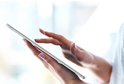 Girl holding Galaxy Tablet