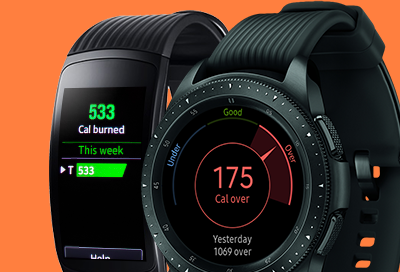 Burned calorie data on your Samsung smart watch