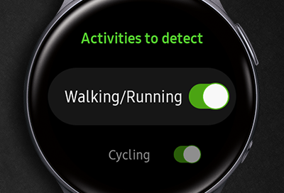 Galaxy Watch Active 2 displaying Activities to detect screen