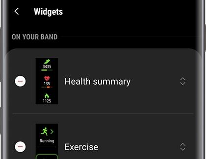 Manage widgets on your Samsung smart watch