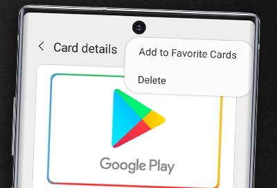 Galaxy Note 10 showing Delete option for card in Samsung Pay