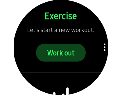 Exercise tracker with Work out option on a Samsung smart watch