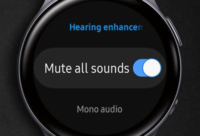 Galaxy Watch Active 2 displaying Hearing enhancements screen