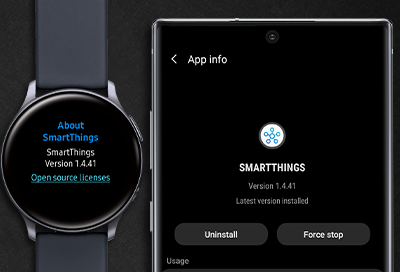 Note 10 next to Galaxy Watch Active 2 displaying SmartThings app info