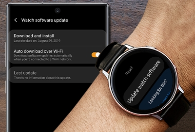 Download and install option in the Galaxy Wearable app and Galaxy Watch Active smart watch downloading the update