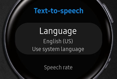 Text-to-speech screen displayed on a Galaxy Watch Active 2