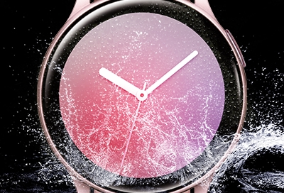 Galaxy Watch Active2 being splashed with water - water resistant