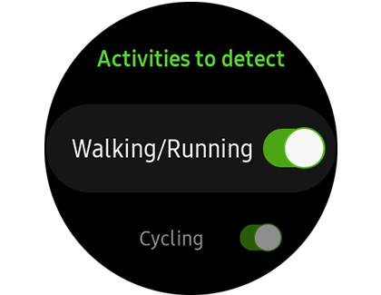A list of Activities to detect on a Samsung smart watch