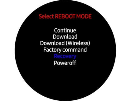 Hard reset in the reboot menu on the Galaxy Watch Active