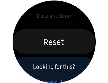 The reset option on the Galaxy Watch Active