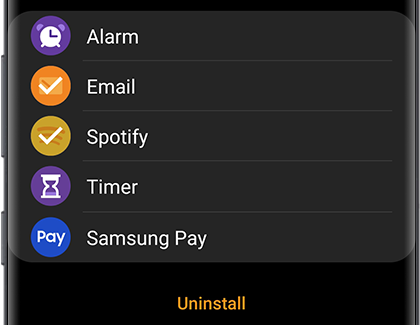 Uninstall app screen in the Galaxy Wearable app