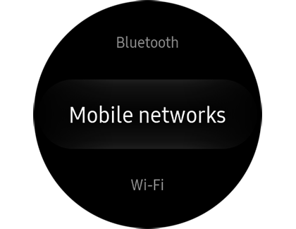 Mobile networks setting displayed on Samsung smart watch