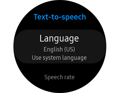 English selected as Language in Text-to-speech settings