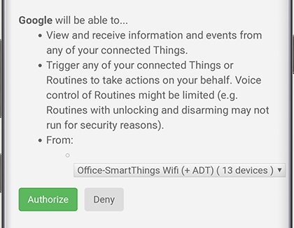 Authorization screen for Google to access SmartThings devices