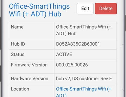 Information screen for a SmartThings Wifi hub