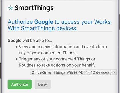 Authorization screen for Google and SmartThings devices