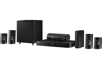 Samsung Blu-ray home theater system arranged in a tidy line