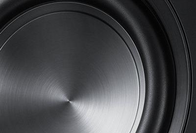 Closeup shot of a Samsung soundwoofer