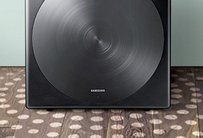 Closeup of a Samsung subwoofer speaker