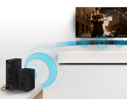 A rear module wirelessly connected to a Samsung soundbar
