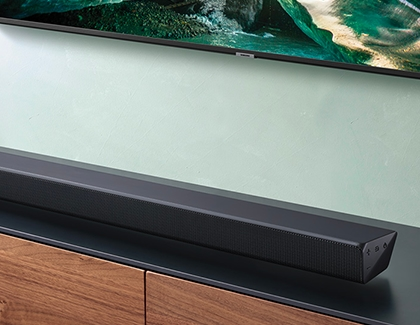Straight soundbar sitting on a table