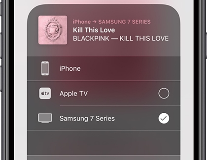 AirPlay interface displayed on iPhone