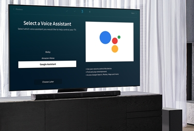 Samsung QLED TV with Google Assistant voice setup