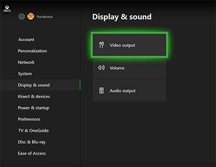 Video output selected in the Xbox's settings