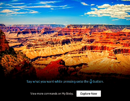 Grand Canyon displayed on the TV with Explore Now option at the bottom of the screen