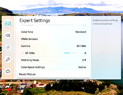 Reset the TV's Picture Settings in the Expert Settings menu