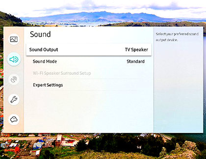 Sound Output set to TV Speaker