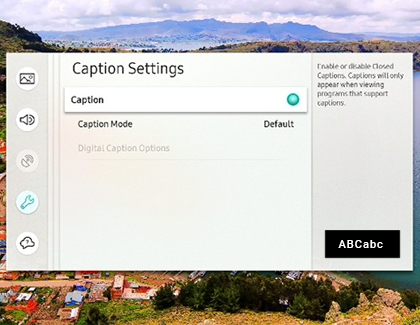 Samsung TV with Caption Settings menu and captions turned on