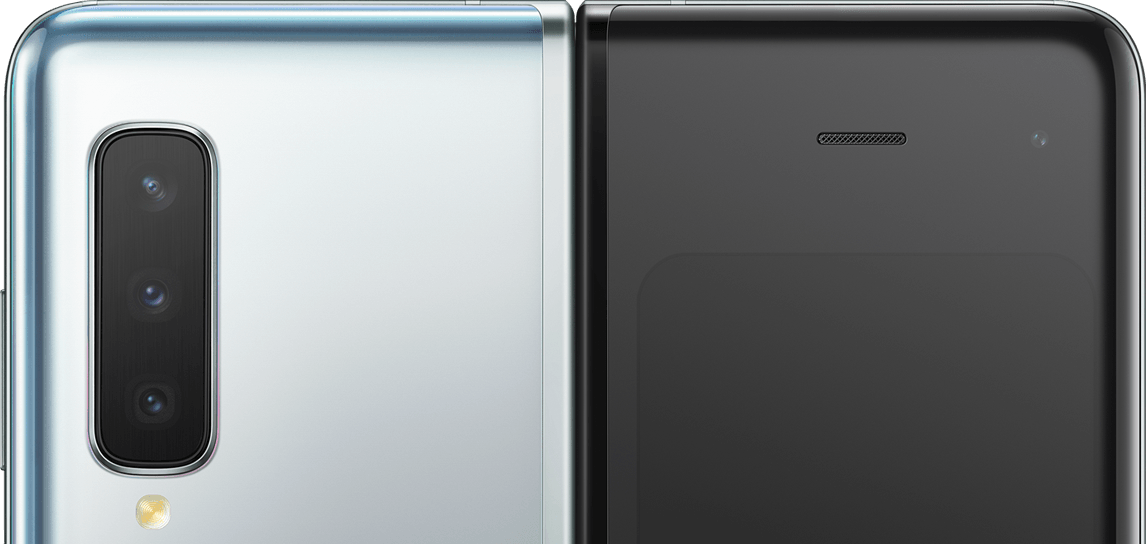 Two Galaxy Folds, unfolded, one seen from the front and the other seen from the rear to show the location of the six cameras. On the front display is 10MP Selfie Camera and 8MP RGB Depth Camera. On the rear is 12MP Telephoto Camera, 12MP Wide-angle Camera, and 16MP Ultra Wide Camera. On the cover is 10MP Selfie Camera