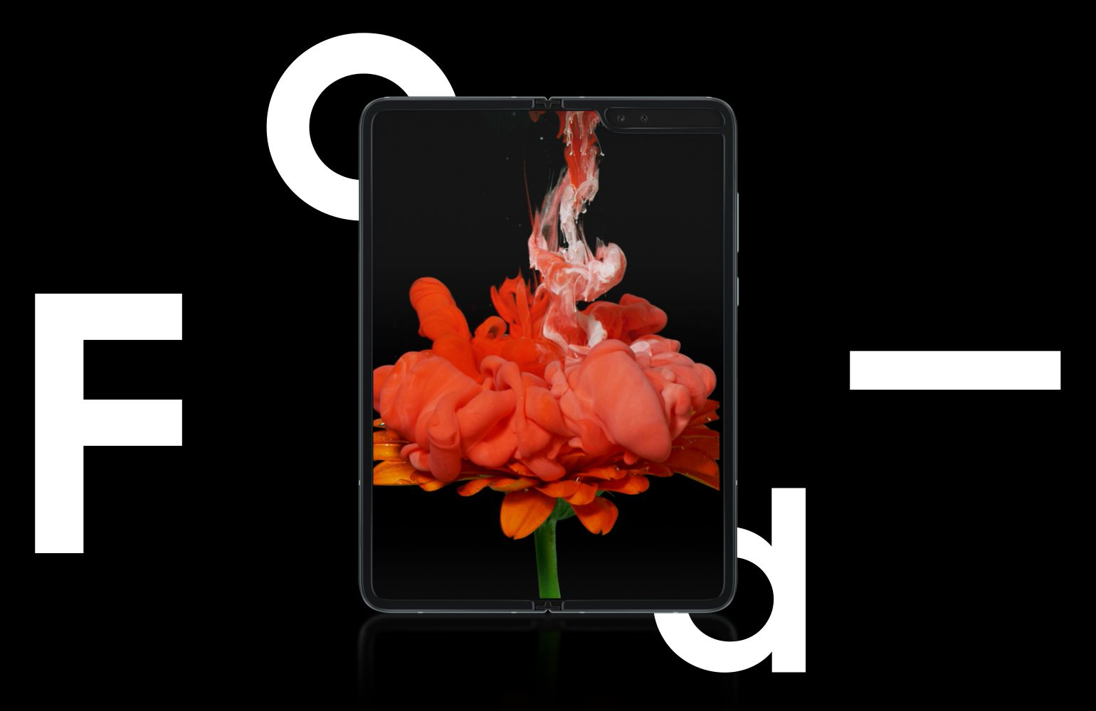 Galaxy Fold, unfolded and seen from the front with a pink and purple floral graphic on-screen