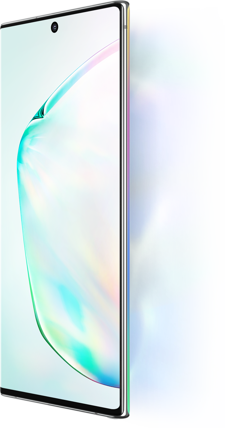 Galaxy Note10 and Galaxy Note10 plus seen at a three-quarter angle with an abstract graphic onscreen. Next to Galaxy Note10 and Note10 plus it says 6.3 inch display and next to Galaxy Note10 plus it says 6.8 inch display