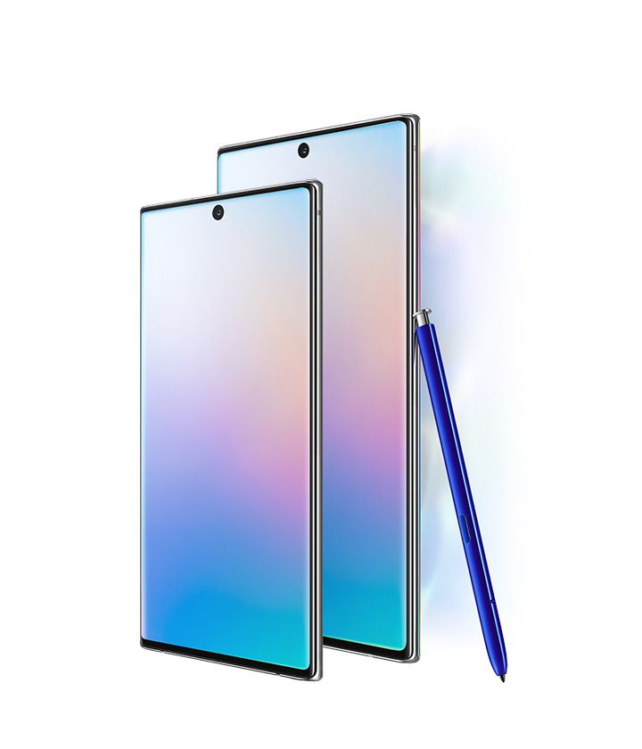 Galaxy Note10 and Galaxy Note10 plus seen at a three-quarter angle with an abstract graphic onscreen. Next to Galaxy Note10 and Note10 plus it says 6.3 inch display and next to Galaxy Note10 plus it says 6.8 inch displaywith S Pen